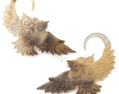 6G Pair Black & Gold Shell Double Sided Owl Gauged Earring Plugs 6 gauge Organic Hand Carved Body Piercing Jewelry
