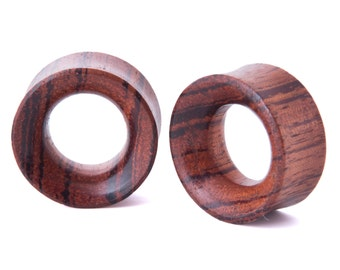 "1"" Pair Red Zebra Wood Beveled Hollow Plugs - Dunnygun Body Piercing Jewelry Gauge Earrings"