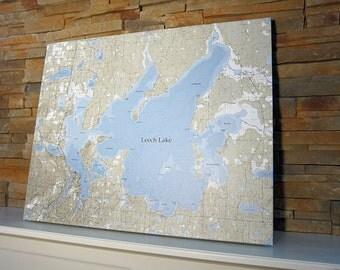 Leech Lake - Canvas Lake Map (Standard Quality)