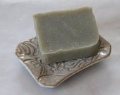 Handmade Soap and Soap Dish Gift Set/ For Friend/Co-worker/Housewarming Gift/Handmade Soap French Green Clay/Vegan Soap