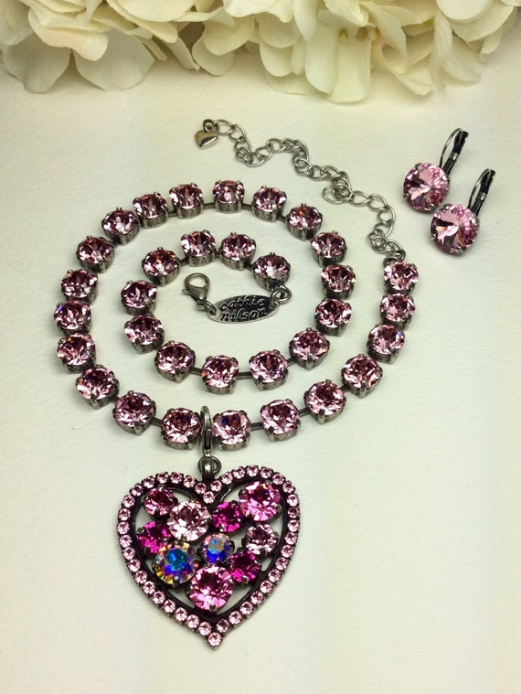 Swarovski Crystal - Heart-Shaped - Add-On Charm - in Rose, Light Rose,  Fuchsia , and Aurora Borealis  +++++   FREE SHIPPING - SALE - 35.