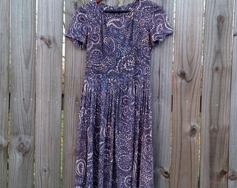 S XS Extra Small Vtg Vintage 50s 60s Blue Grey Paisley Print Short Sleeve Day Dress Frock Housedress