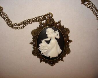 Snow White Cameo Necklace Victorian Snow White Disney Princess Dancing Dress