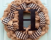 Burlap Bubble Wreath with Chevron ribbon and Initial