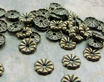 pkg of (50) - 7mm Vintage Brass Flower Washers - use with my nail head rivets