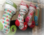 Personalized Christmas Stocking with personalized name tag  - set of 4