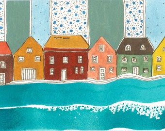 """Watercolor Painting """" Houses On The Surf"""", Kid's Room Art, Accent Piece"""