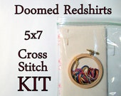 Cross Stitch Kit -- Doomed Redshirts patterned to fit in a 5x7 frame