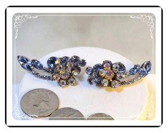 Vintage Juliana Earrings - Sparkling Sky Blue - Raised AB Rhinestones   DE035a-090412031