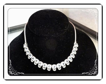 Rhinestone Chain Necklace - Vintage with the Crescent - Very Nice Quality      Neck-2860a-041913000