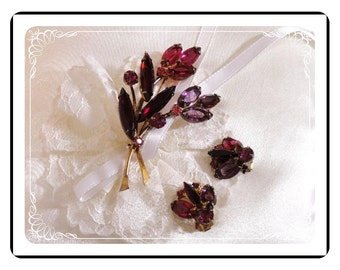 Floral Brooch Demi - Stunning Reds and Lavender     Demi-1254a-122811000