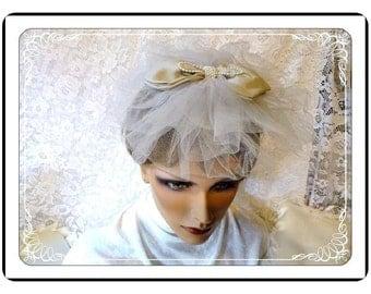Brides Veil Net Hat -  Vintage with Big Bow -  H-040a-072313000