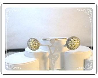 Vintage Button Earrings = Pearl Beads & Rhinestones  - E3461a-092412000