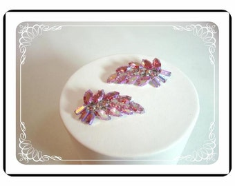 Pink B.David Earrings - Vintage Clip-on Earrings  Irridescent  E102a-04081200