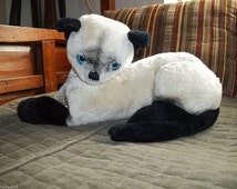 "Vintage 70's Toy Cat R. Dakin & Co. 1973 Siamese Stuff Cat Kitty Toy Plush Animal 12"" Clean  Free Shipping"