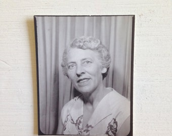 Vintage PhotoBooth Snapshot of Grandma with Fashionable Blouse and Blonde Hair
