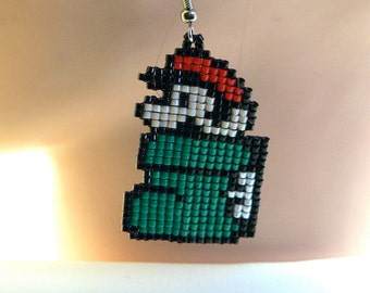 Pixel Green Goomba Shoe Powerup Mario Earrings Super Mario's World Handmade Bead