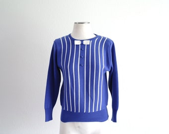 Vintage 60s Sweater - Royal Blue and Cream - Stripe Sweater - Bow - Womens Sweater -Knit Sweater - Small/Med