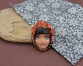 OOAK jewelry pendant Art Doll Face ELF by Kristiina Meiner