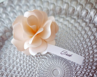 Custom Handmade Paper Roses Place Cards - Set of 5