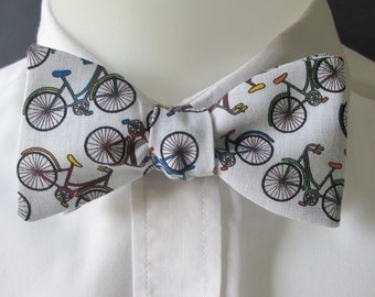 Men's bowtie - delightful bicycle print - self tie /  hook and clasp / pre-tied options