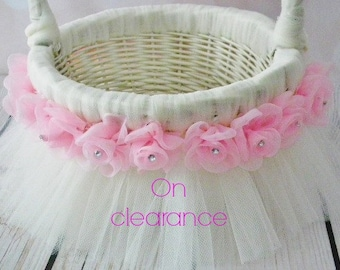 On clearance - ivory and pink tutu flower basket - ivory tulle, pink flowers with rhinestones, ivory and pink wedding basket - ready to ship