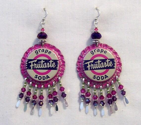 Vintage Grape Soda Bottle Cap Earrings By JazziSparklies