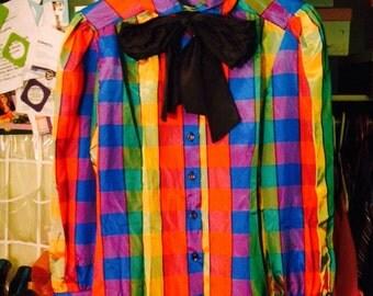 Diane Von Furstenberg Rainbow Plaid Button Up