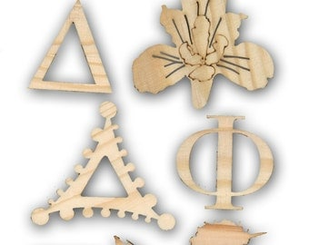 Delta Phi Epsilon wood cut outs for Sorority Crafts and Gifts,  Letters, Unicorn, Iris Laser Cut Shapes