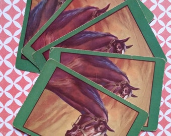5 Vintage Horse Playing Cards | Farm Animals | Tags