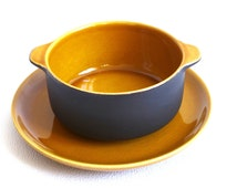 Vintage Melitta soup set, matt black and ocher