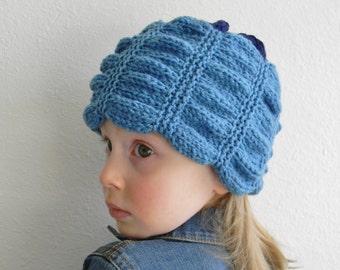 Knitting pattern - Samara knit hat, ruffled knit hat pattern, girl knit hat pattern, woman knit hat pattern, hand knit hat pattern, PDF