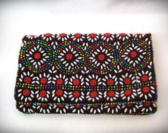 Vintage beaded purse Oriental Cosmetic / Iphone bag