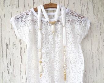 Scarf Necklace, Wedding Jewelry Scarf, Turkish Silk Necklace, Gold Scarf Necklace, Bridal Gifts, Bridal Accessories