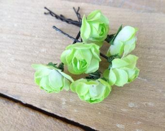 Apple Green  Rose Wedding Hair Pins, Green Bridal Hair Pins, Hair Accessories, Bridesmaid Hair, Woodland - Set of 6
