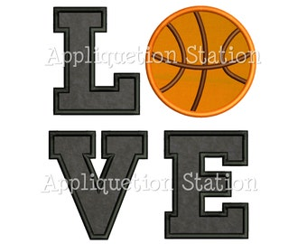 LOVE Basketball Applique Machine Embroidery Design Pattern sports INSTANT DOWNLOAD