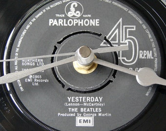 """The BEATLES, """" Yesterday """", Vinyl Record, Wall CLOCK, made from a recycled 7"""" record. Cool, retro gift, for man, woman, dad, grandad"""
