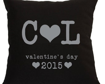 """Valentine's Day with your initials pillow, perfect for valentines day, to propose with or for your second wedding anniversary as """"cotton""""."""