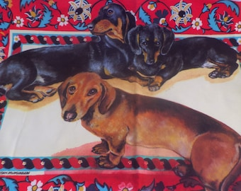 Vintage DACHSHUNDS Wall Hanging • LARGE Floor Cloth Portrait of Weiner Dogs • Hand Painted Dogs Portrait by M.E. Bilisnansky-McMorrow