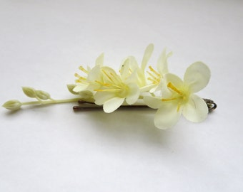 Jasmin Flower bobby pins - lily of the valey  wedding headpiece, flower girl - Fabric  Bohemian Hair Piece