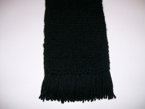Knitting Garter Stitch Left Handed : Items similar to Hand Knit Black Garter Stitch Scarf Neckwarmer on Etsy