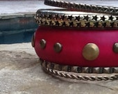 Wood n Metal Bangle Set! Fuschia Wood Bracelets! Set of 5 for Multi Layering! Great Gift!