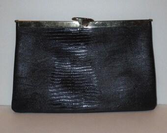 Vintage 1960's Etra Black snap Clutch Purse Hand Bag Genuine leather