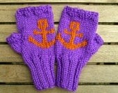 Anchor mittens fingerless mittens knitted mittens christmas gift for her wool mittens
