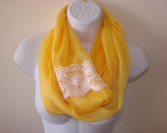 infinity scarf with lace, yellow chiffon scarf, spring scarf, summer scarf, Easter scarf, circle loop scarf woman fashion scarf