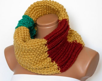Braided Chunky Cowl, Scarflette, Neckwarmer, Mustard, Cinnamon Green Infinity Scarf Knitted Chunky Scarf, Gift For Her, Cozy Cowl