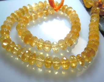 Citrin Quartz Gemstone Faceted Roundelle Beads -9x9MM Approx 8'' AAA l High Quality Wholesale Price
