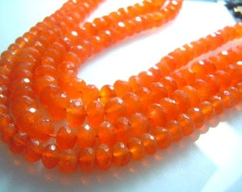 Carnelian Gemstone Faceted Roundelle Beads -7x7MM Approx 8'' AAA High Quality Wholesale Price