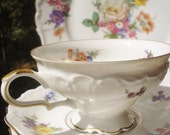 Vintage Cup Saucer Set Edelstein Bavaria Ornate Footed Scalloped 4 Piece