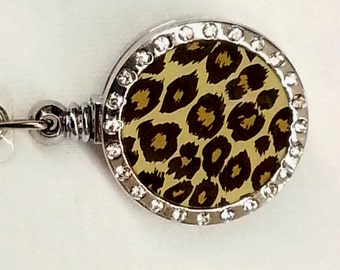 Beautiful Rhinestone Crystal Name Badge Holder Retractable Reel - nurse jewlery - teacher - lanyard - glitzy namebadges